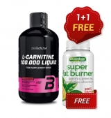 1+1 FREE BIOTECH L-Carnitine 100.000 / 500 мл  + QUAMTRAX Super Fat Burner / 60 caps